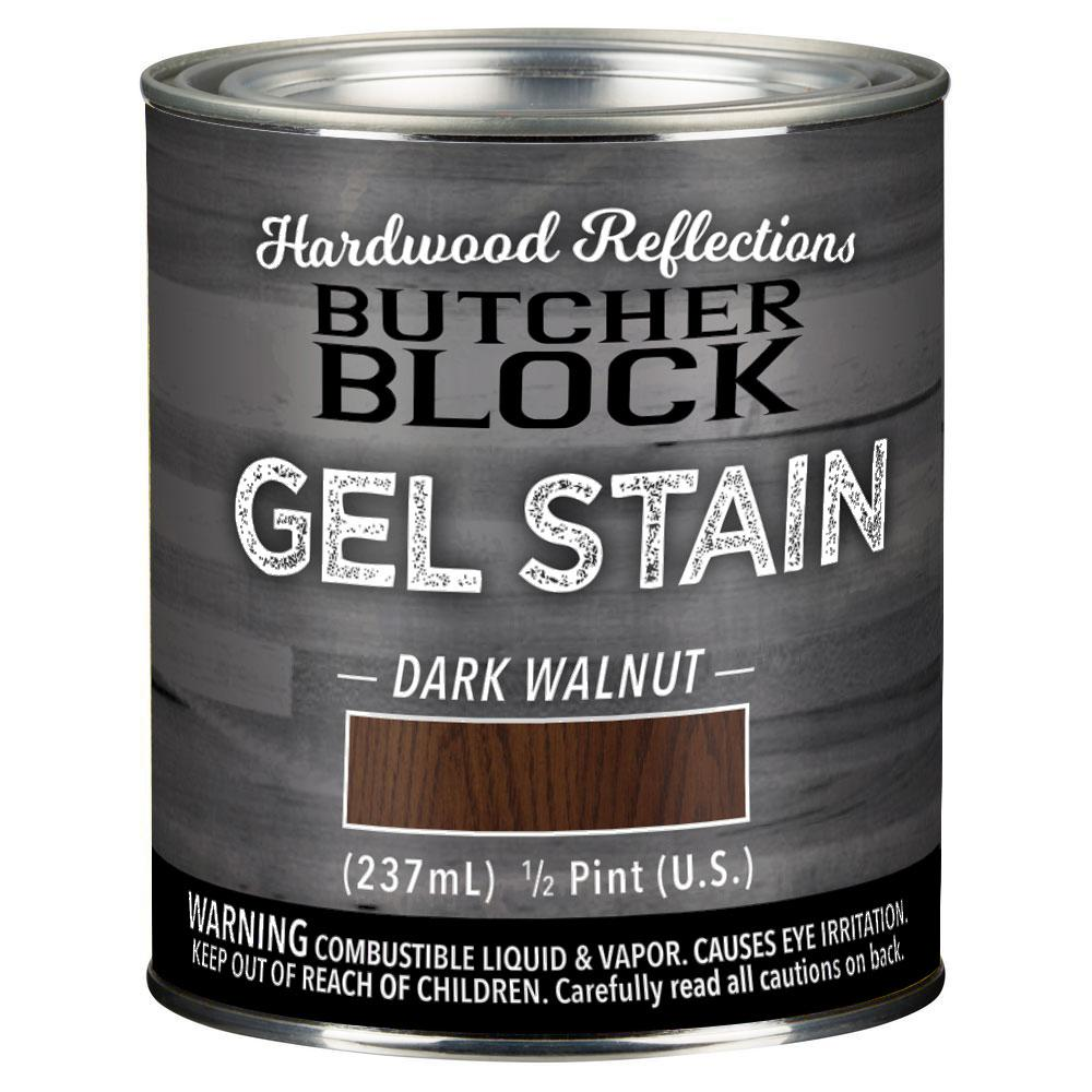 HARDWOOD REFLECTIONS 1/2-Pint Dark Walnut Oil-Based Satin Interior Butcher Block Wood Gel Stain