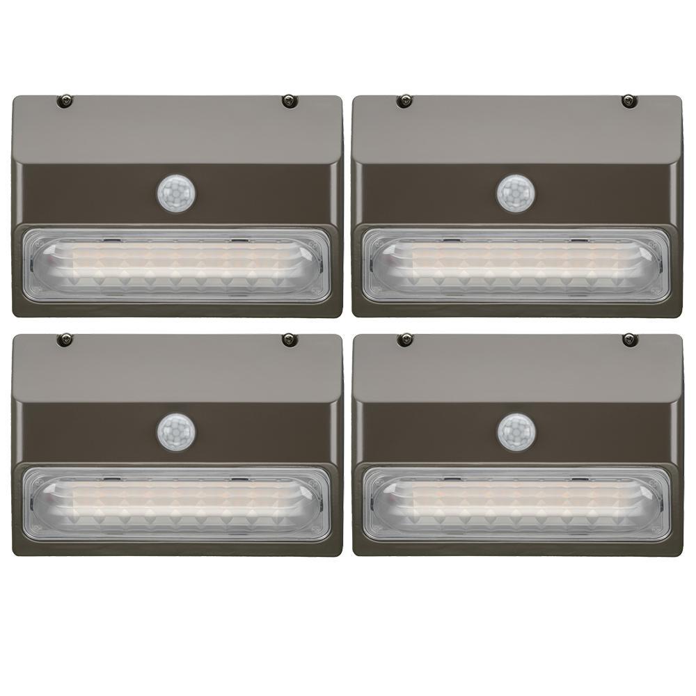 9 in. 150-Watt Equivalent Integrated LED Bronze Motion Sensor Wall Pack Light Dusk to Dawn Lumen Boost (4-Pack)