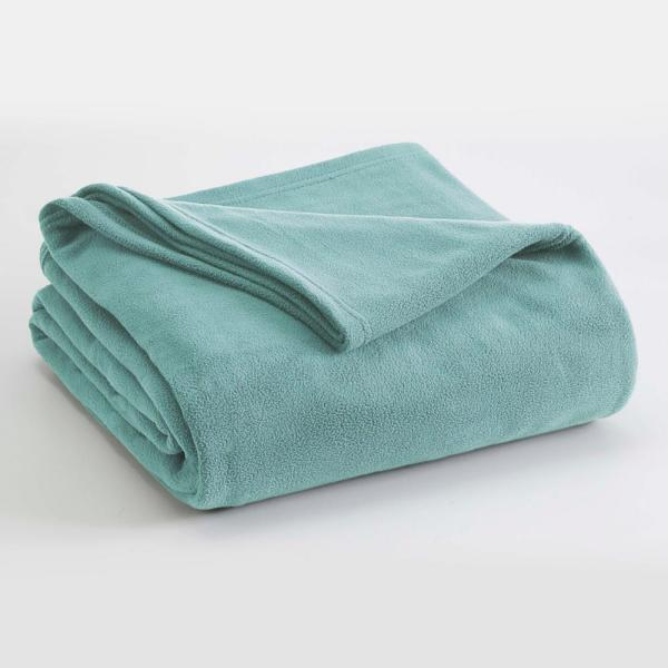 Microfleece Light Blue Polyester Full Queen Blanket