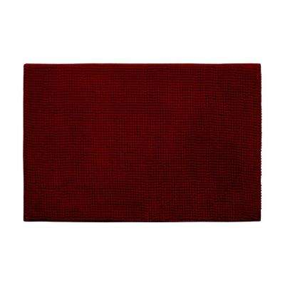 Plush Chenille Red 20 in. x 30 in. Memory Foam Bath Mat