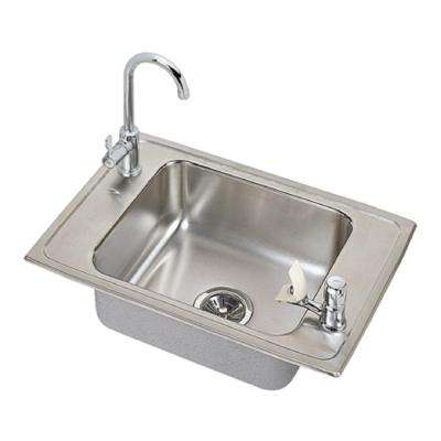 Celebrity Drop-In Stainless Steel 25 in. 2-Hole Single Bowl Classroom Sink with Faucet, Drain, and Strainer Basket