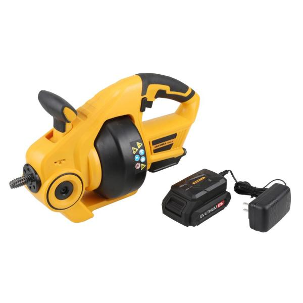 1/4 in. x 25 ft. 18-Volt Lithium-Ion Cordless Power Drain Auger with Battery Included
