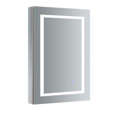 Spazio 24 in. W x 36 in. H Recessed or Surface Mount Medicine Cabinet with LED Lighting, Mirror Defogger and Left Hinge