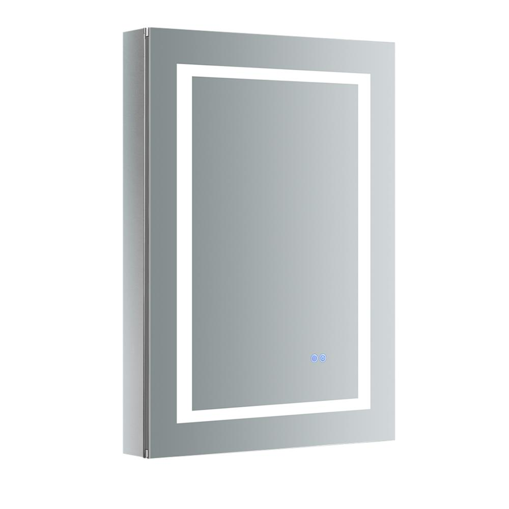 Fresca Spazio 24 in. W x 36 in. H Recessed or Surface Mount Medicine Cabinet with LED Lighting, Mirror Defogger and Left Hinge