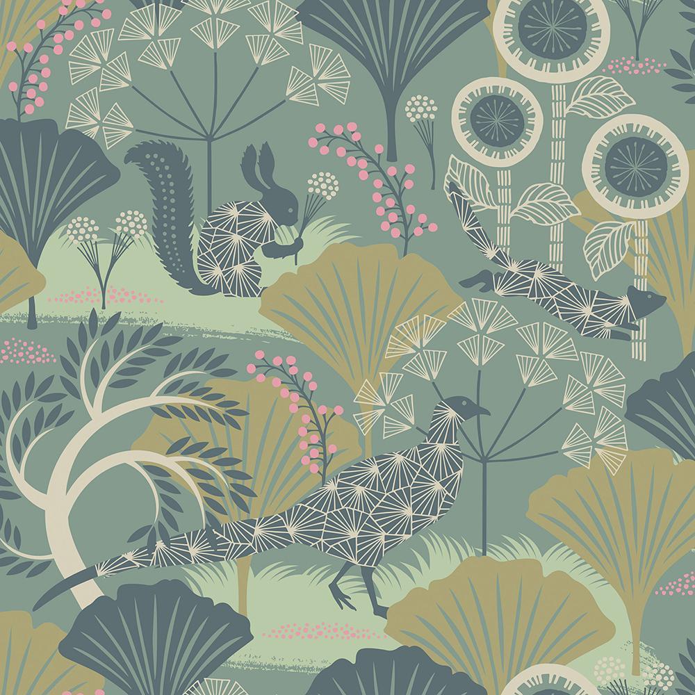 57.8 sq. ft. Skog Green Forest Wallpaper