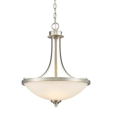 Barr 3-Light Brushed Nickel Pendant with Matte Opal Glass