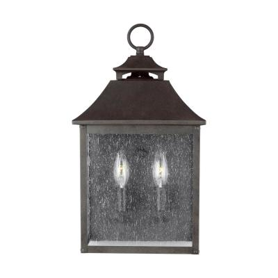 Galena 2-Light Sable Outdoor Wall Mount Wall Lantern with Clear Seeded Glass