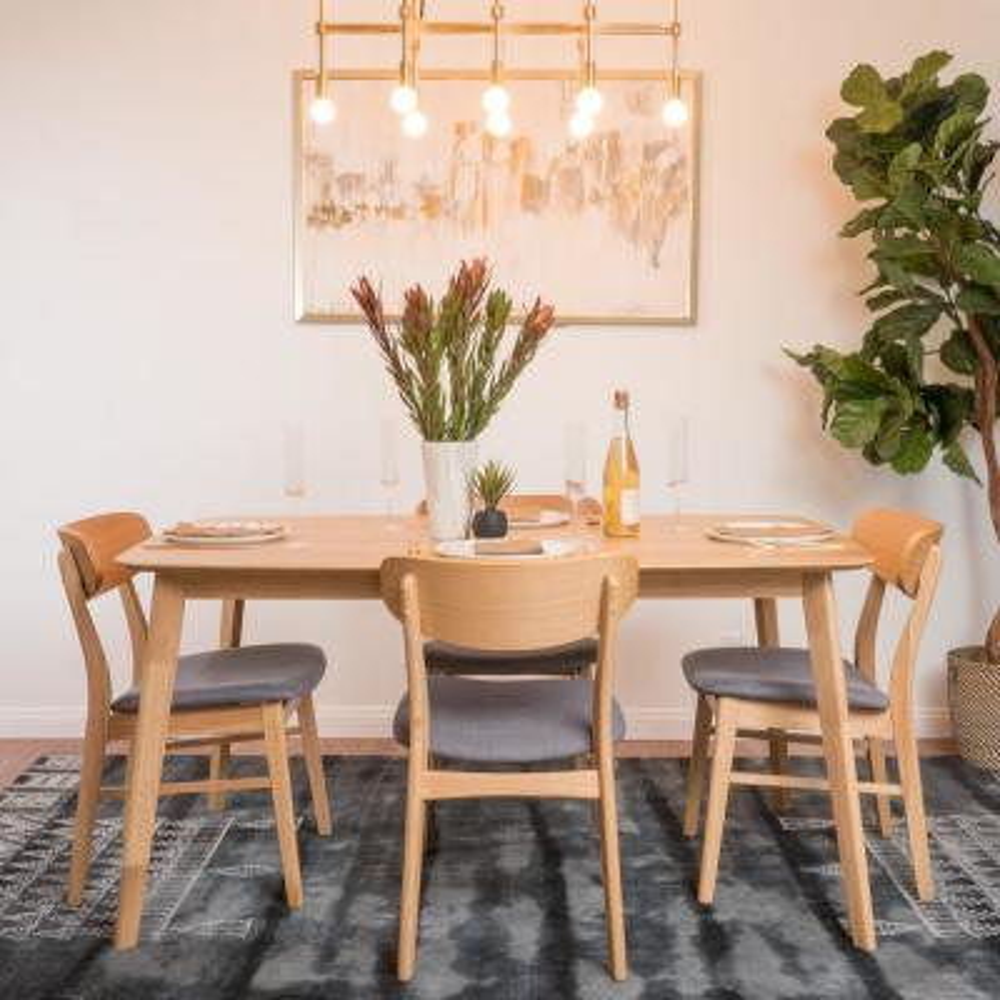 Lucious 5-Piece Dark Grey and Natural Oak Dining Set