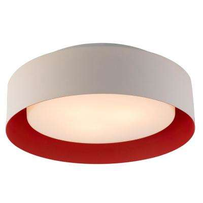 Lynch White and Red Flush Mount