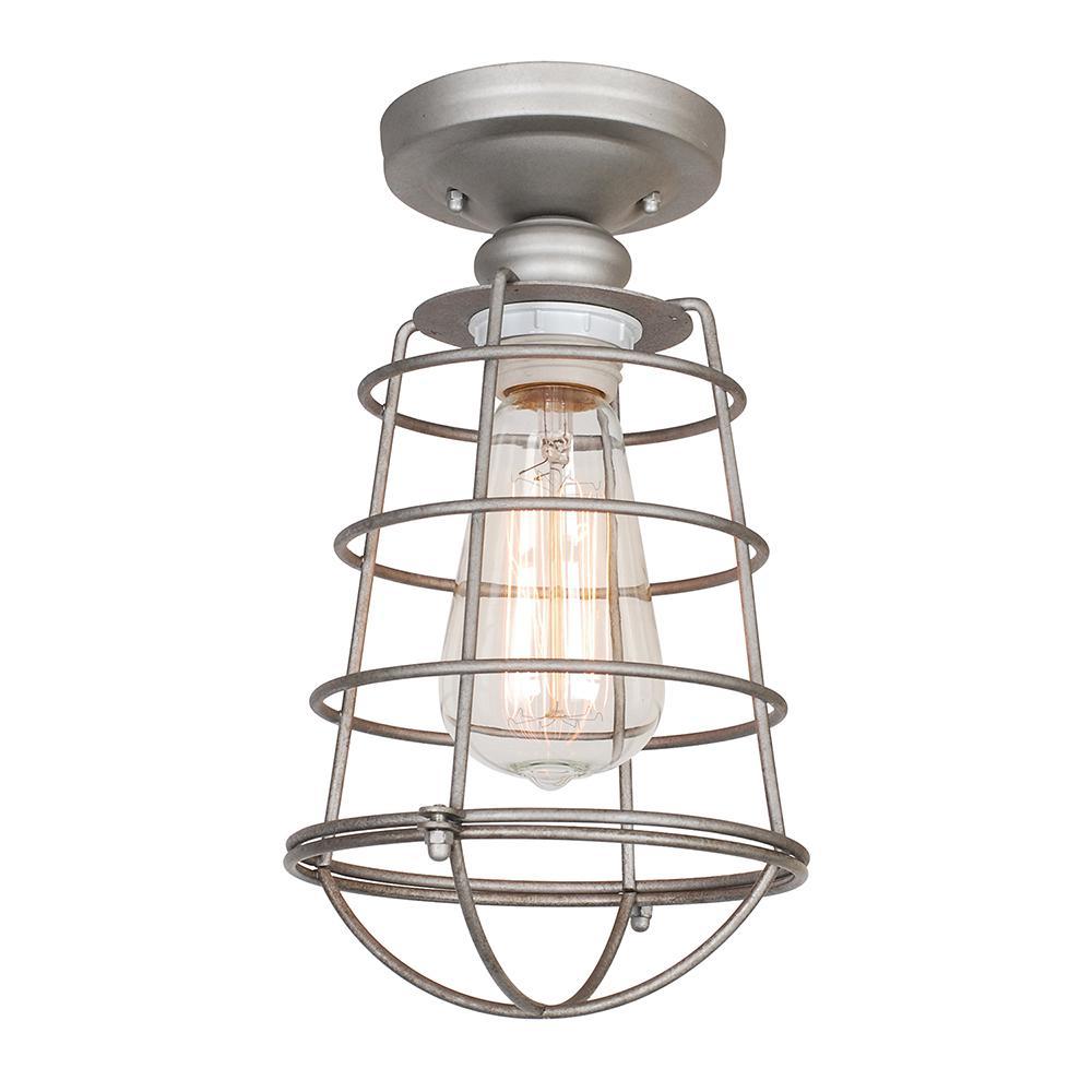 Ajax 1-Light Galvanized Indoor Ceiling Semi-Flush Mount with Edison Bulb