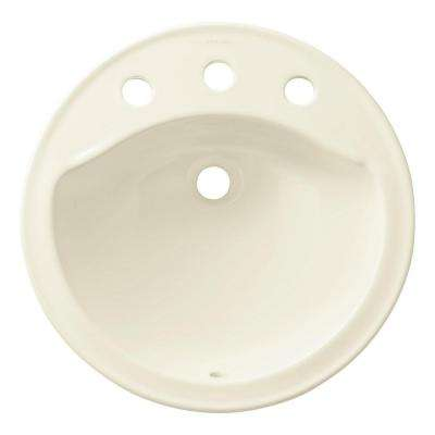 Modesto Drop-In Ceramic Bathroom Sink in Biscuit with Overflow Drain
