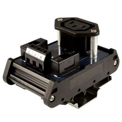 IEC320 10 Amp 250-Volt AC Outlet Interface Module DIN Rail Mount