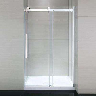 Sierra 48 in. x 81.5 in. Frameless Sliding Shower Door in Chrome with 48 in. Base