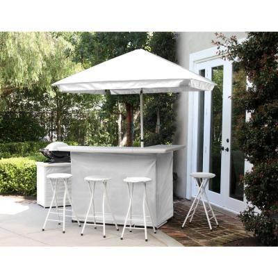 Solid White 6-Piece All-Weather Patio Bar Set with 6 ft. Umbrella