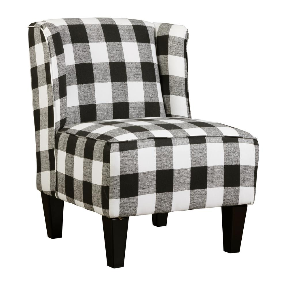 Amazing Charlie Buffalo Check Black And White Plaid Winged Upholstered Slipper Chair Machost Co Dining Chair Design Ideas Machostcouk