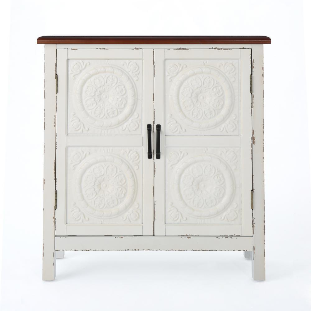 Distressed White 2-Door Cabinet