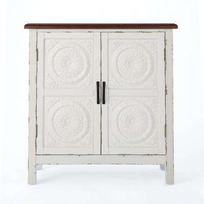 Distressed White 2-Door Cabinet