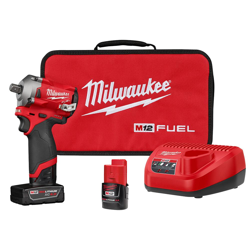 Milwaukee M12 FUEL 12-Volt Lithium-Ion Brushless Cordless Stubby 1/2 in. Impact Wrench Kit with Pin Detent, 2 Batteries and Bag