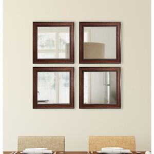 15.5 inch 15.5 inch Country Pine Square Wall Mirrors (Set of 4) by