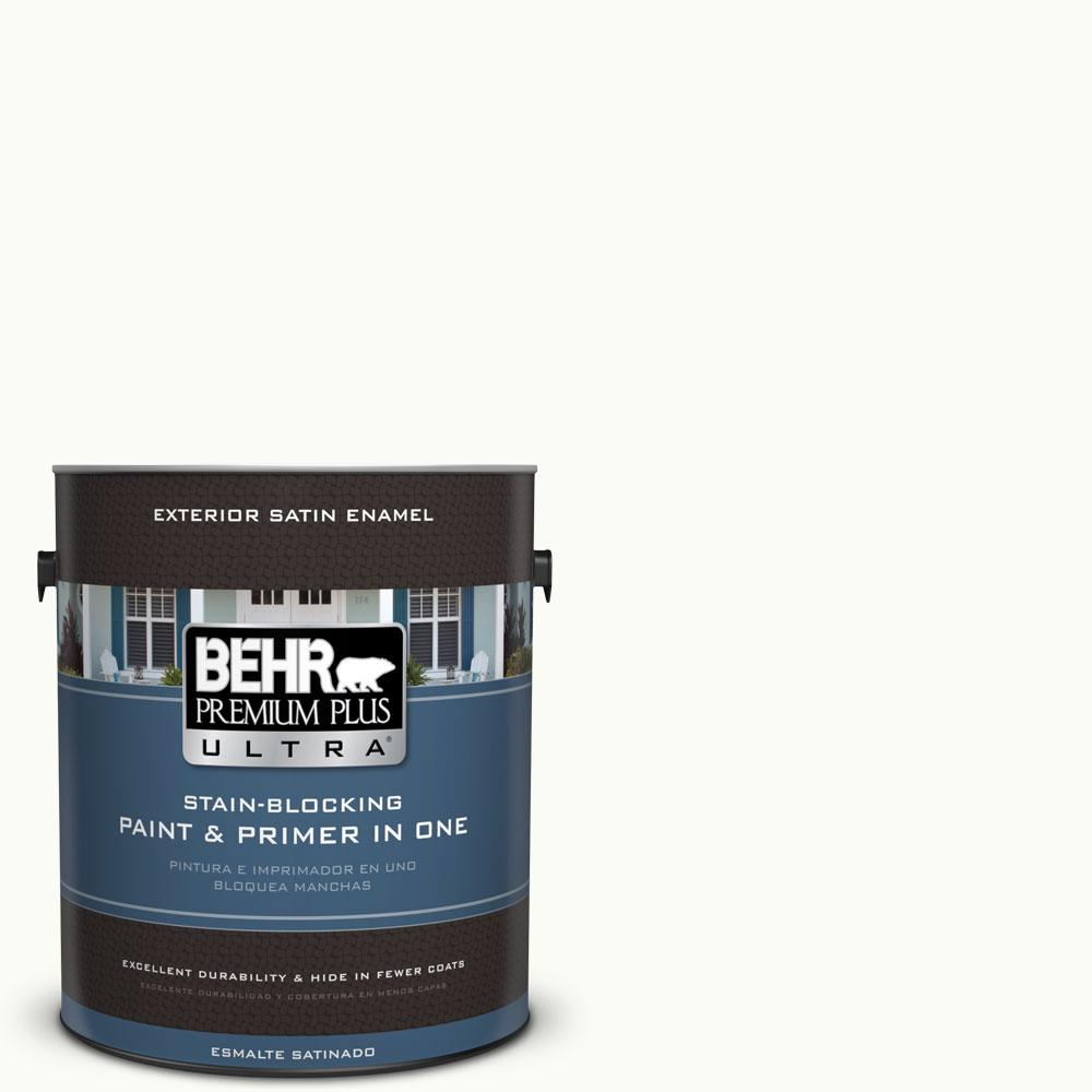 BEHR Premium Plus Ultra 1-gal. #PPU18-6 Ultra Pure White Satin Enamel Exterior Paint