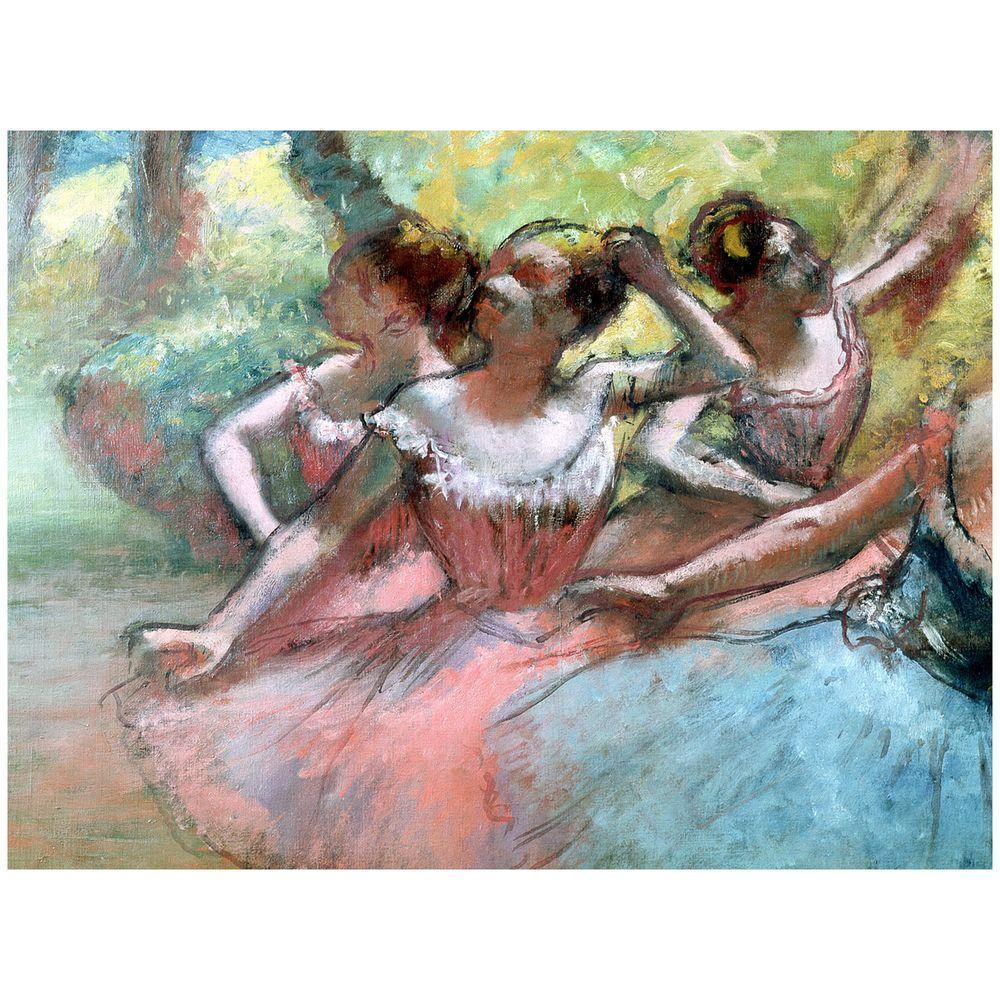 Trademark Fine Art 14 in. x 19 in. Four Ballerinas on the Stage Canvas Art