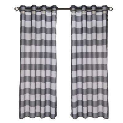 Black Sofia Grommet Curtain Panel, 84 in. Length