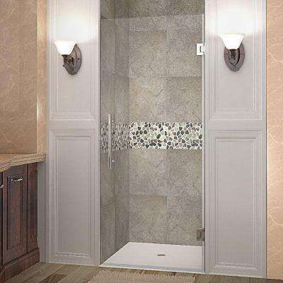 Cascadia 30 in. x 72 in. Completely Frameless Hinged Shower Door in Stainless Steel with Clear Glass