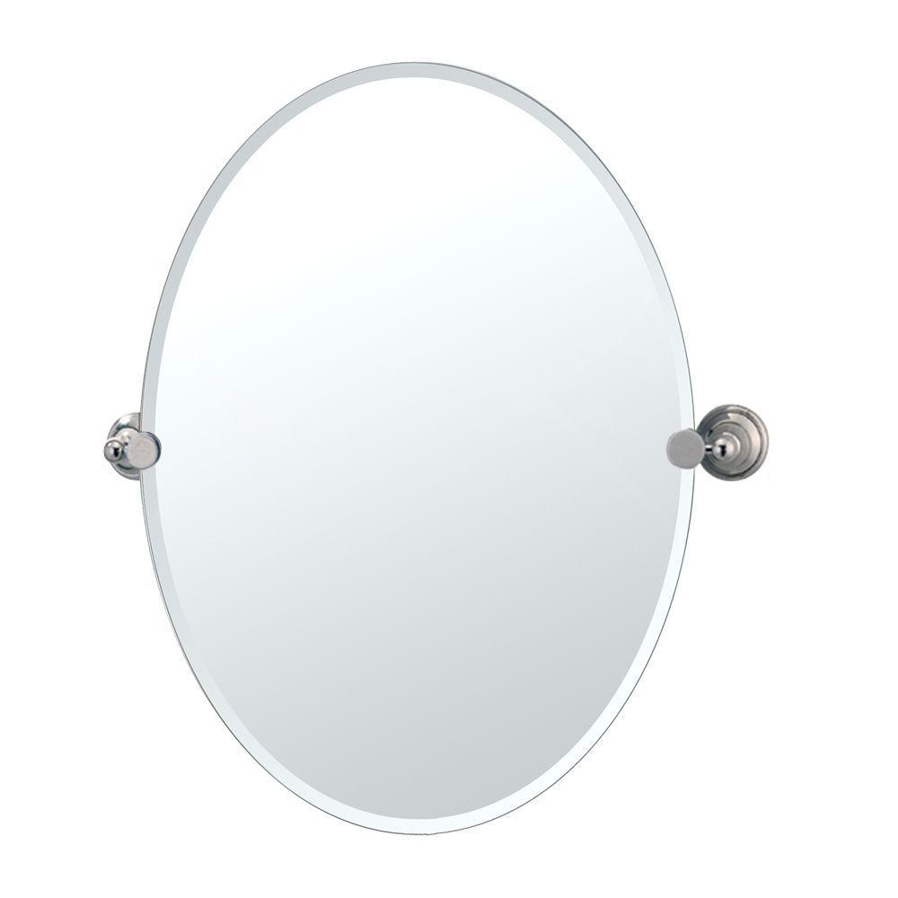 Laurel Ave 24 in. x 27 in. Frameless Oval Mirror in Polished Nickel