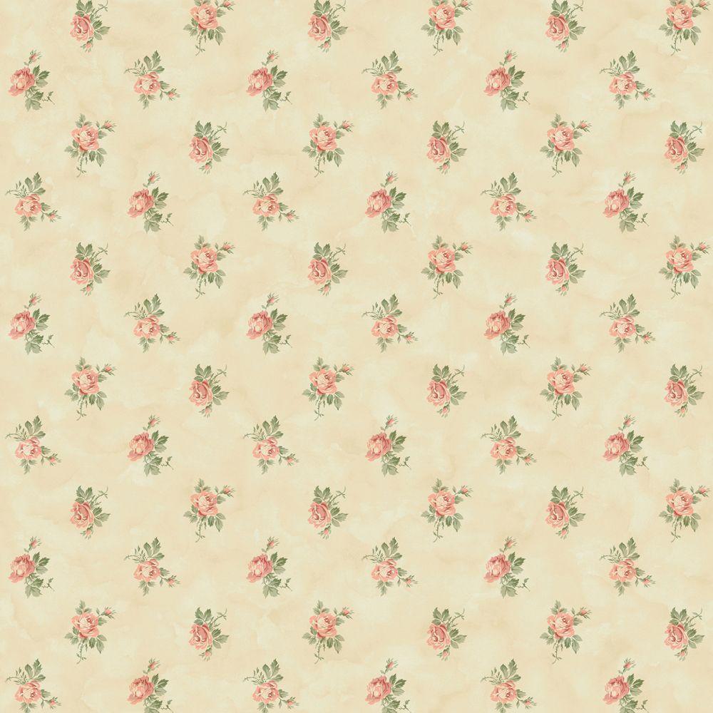 The Wallpaper Company 56 sq. ft. Beige Newbury Rose Wallpaper