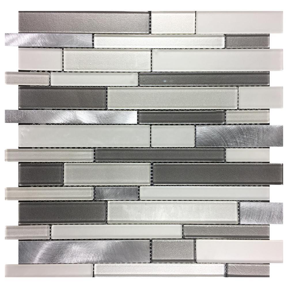 Urbanka Interlocking 12 in. x 12 in. x 6 mm Glass Metal Mesh-Mounted Mosaic Tile (1 sq. ft.)