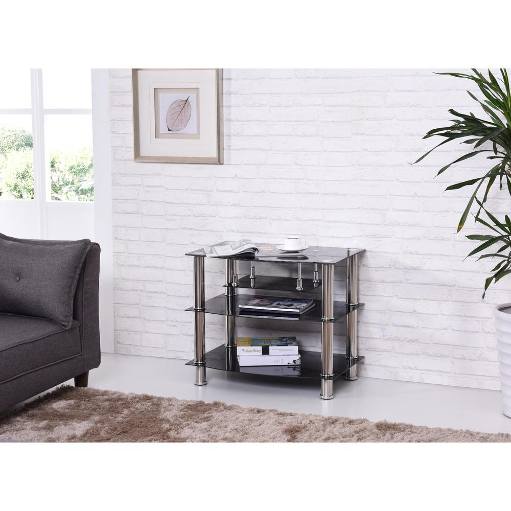 Hodedah 27 5 In Wide Black Tempered Glass Tv Stand Hitv4 The Home