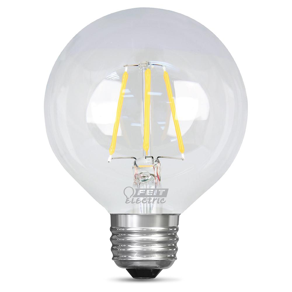 Feit Electric 60w Equivalent Daylight G25 Dimmable Clear Filament Led Medium Base Light Bulb