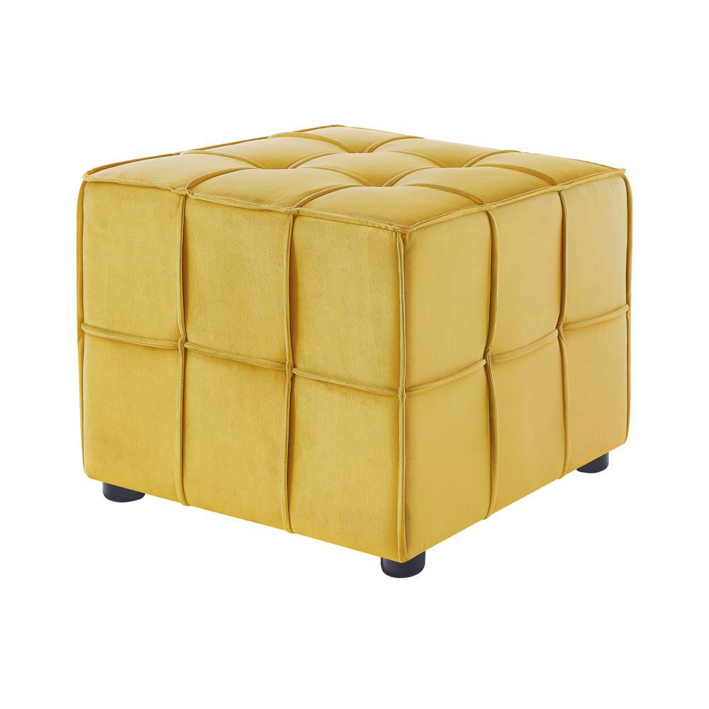 Nitudra Yellow Velvet Ottoman with Upholstered