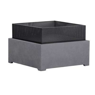 22 in. x 15 in. Square Magnesium Oxide Wood Burning Sentinel Fire Pit in Dark Gray Cement