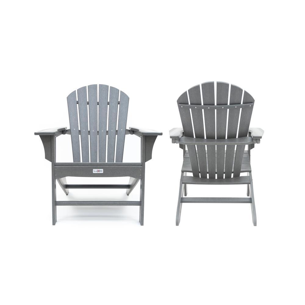 Hampton Gray Poly Outdoor Patio Plastic Adirondack Chair ...
