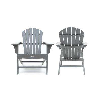 Hampton Gray Poly Outdoor Patio Plastic Adirondack Chair (2-Pack)