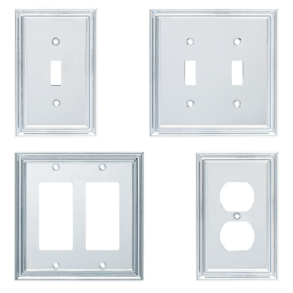 Liberty Silverton Decorative Double Light Switch Cover Polished Chrome