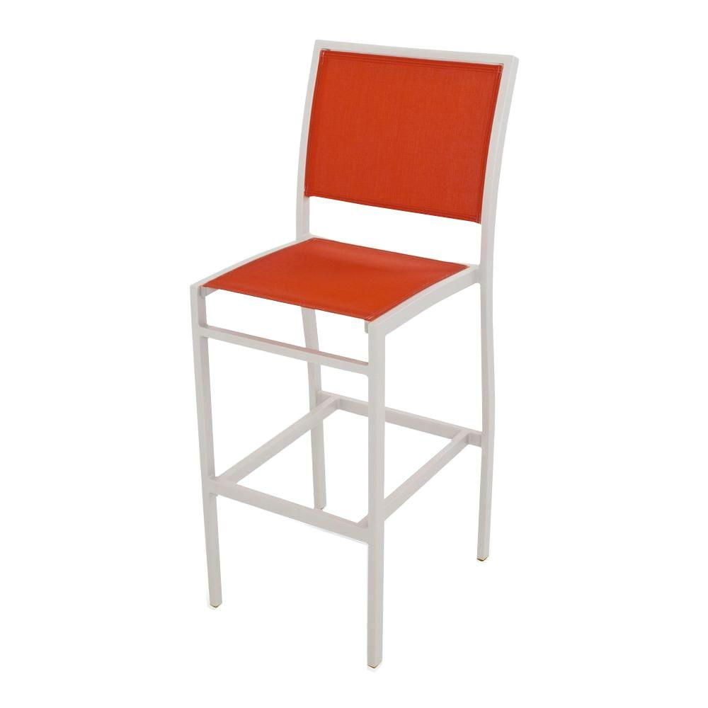POLYWOOD Bayline Textured Silver/Salsa Sling Patio Bar Side Chair