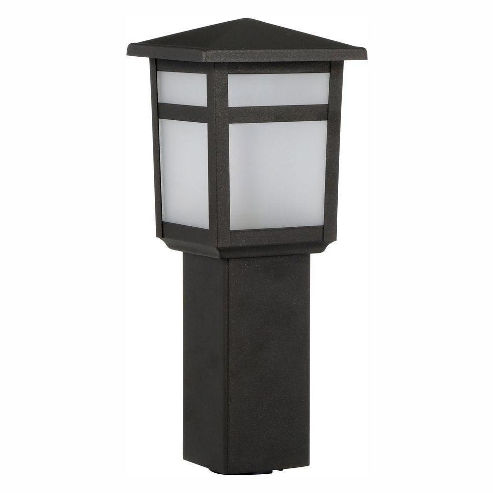 Hampton Bay Low Voltage 10 Watt Equivalent Black Outdoor Integrated Led Square Landscape Path Bollard Light With Frosted Gl