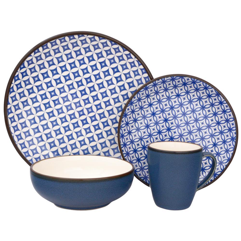 Sango Crystal 16-Piece Blue Dinnerware Set  sc 1 st  Home Depot & Sango Crystal 16-Piece Blue Dinnerware Set-3625BL800ACM24 - The Home ...