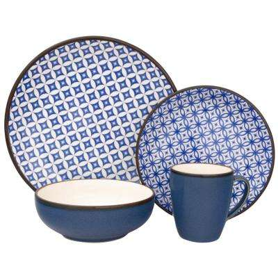 Crystal 16-Piece Blue Dinnerware Set