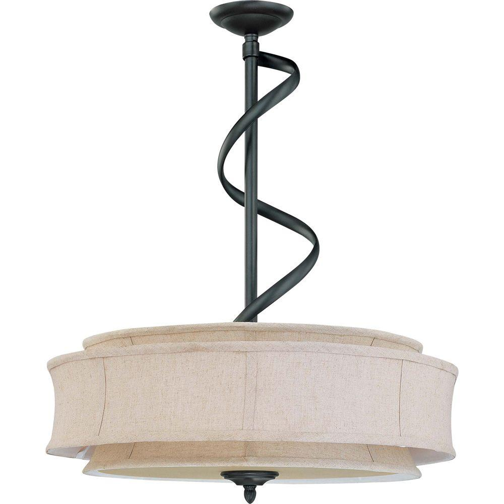 Glomar Darwin 3-Light Pendant with Natural Linen Shade Finished in Aged Bronze-DISCONTINUED