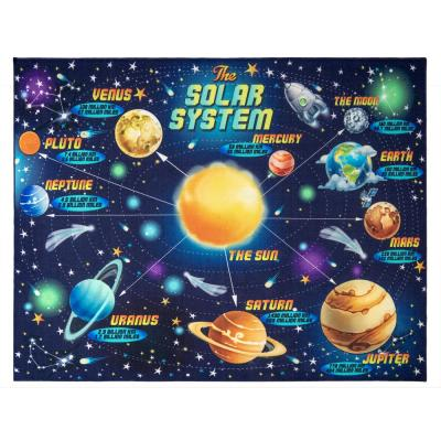 Way Out In Space Multi-colored 8 ft. x 10 ft. Educational Area Rug