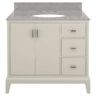 Shaelyn 37 in. W x 22 in. D Bath Vanity in Rainy Day RH Drawers with Granite Vanity Top in Napoli with White Basin