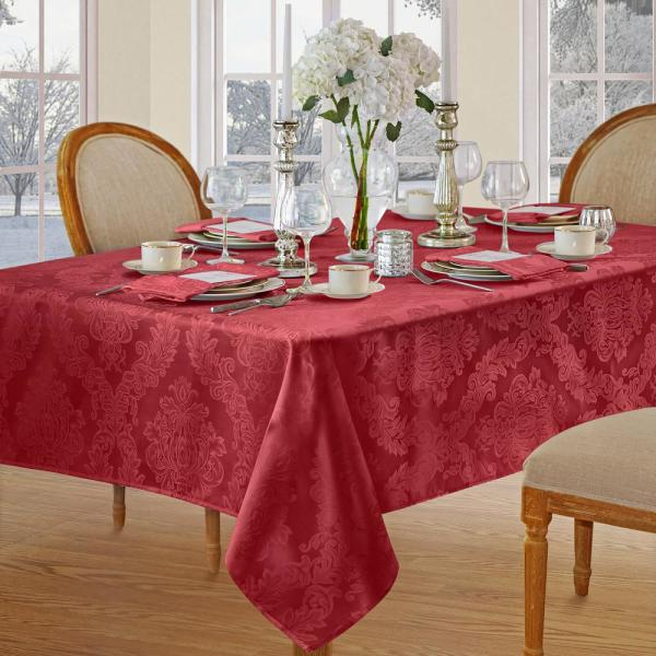 Elrene 60 In W X 120 In L Red Elrene Barcelona Damask Fabric Tablecloth 21037red The Home Depot