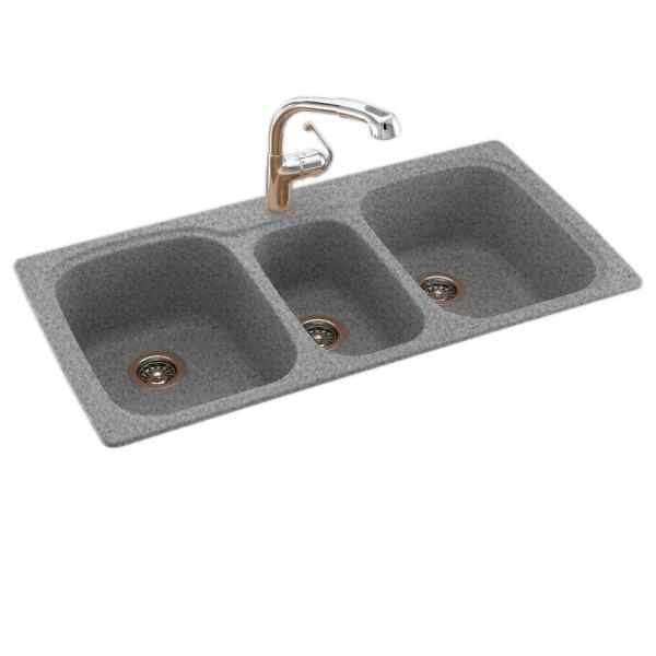 Swan Drop In Undermount Solid Surface 44 In 1 Hole 40 20 40 Triple Bowl Kitchen Sink In Tahiti Gray Ks04422tb 053 The Home Depot
