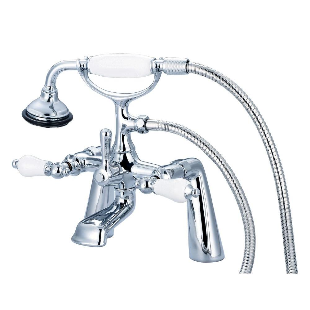 Water Creation 3-Handle Vintage Claw Foot Tub Faucet with Hand Shower and Porcelain Lever Handles in Triple Plated Chrome