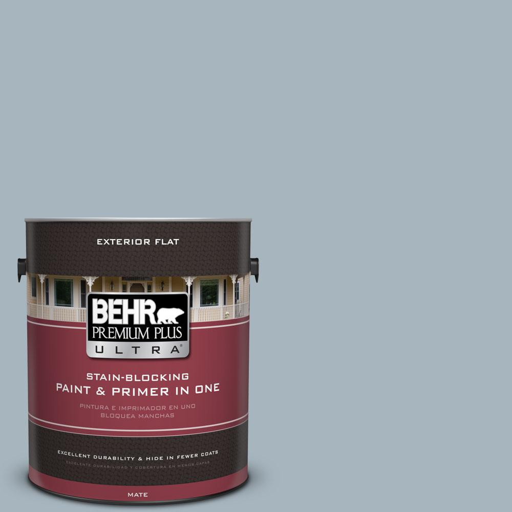 BEHR Premium Plus Ultra 1-gal. #N480-3 Shadow Blue Flat Exterior Paint