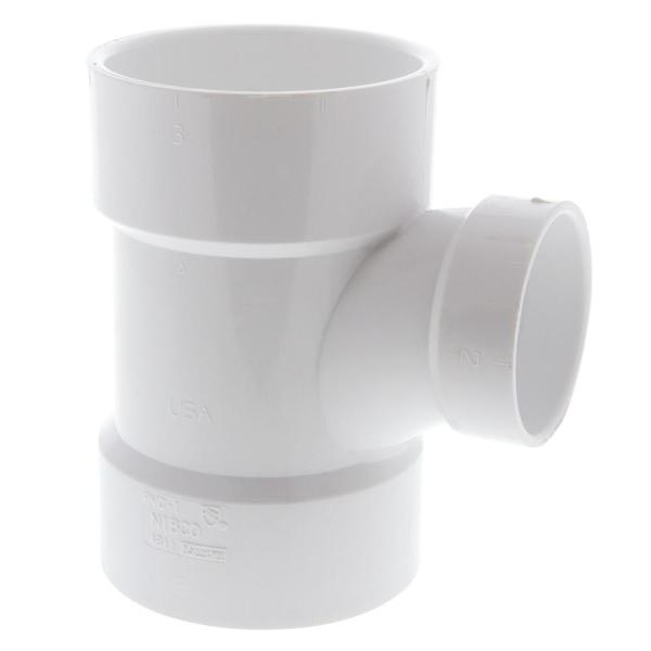 3 in. x 3 in. x 2 in. PVC DWV All Hub Sanitary Tee Fitting