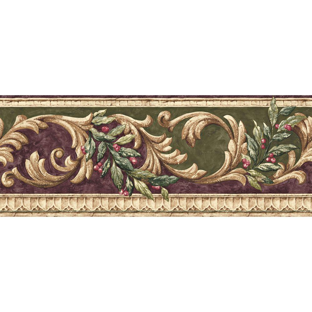 The Wallpaper Company 8 in. x 15 ft. Purple and Green Earth Tone Scroll Border-DISCONTINUED